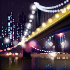 Abstract urban night landscape,parts of buildings and bridge.