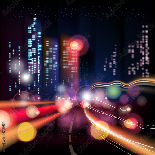 Urban night landscape city, Vector Effect blur, bokeh.