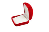 Red jewelry box isolated.