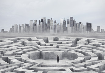 businessman and maze