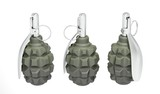 Three green frag grenades on white background