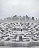 businessman and huge maze