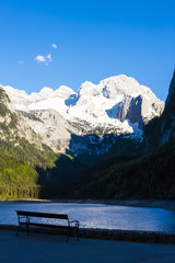 view at Dachstein from Vorder-Gosausee lake, Upper Austria-Styri