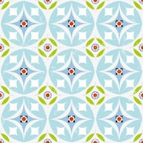 seamless pattern, circles and flowers