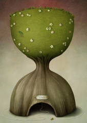 Symbolic image  an hourglass as  tree
