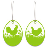 2 Hangtags Easter Rooster Chicken Meadow