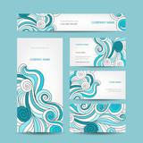 Set of business cards design with sea wave