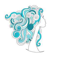 Wavy hairstyle, female head for your design
