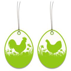 2 Hangtags Easter Rooster Chicken Meadow
