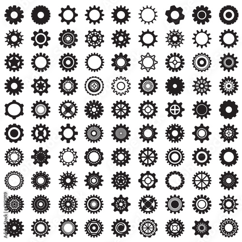 Collection of gear wheels isolated on white background - 62131919