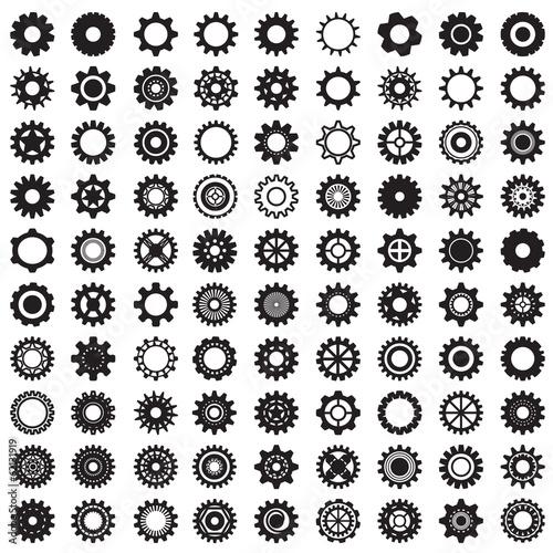 Zdjęcia na płótnie, fototapety, obrazy : Collection of gear wheels isolated on white background