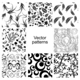 Set of 8 black seamless patterns for your design