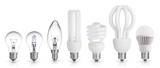 set of incandescent, halogen, compact fluorescent, LED light bul