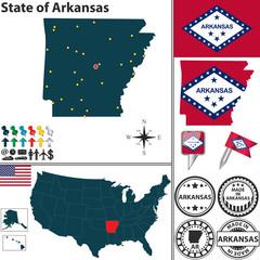 Map of state Arkansas, USA