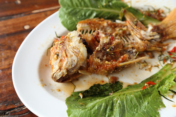 eaten Fried ruby fish topped with sweet,sauer and hot sauce