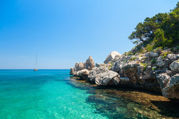 Clear turquoise water of  Cala Luna in Sardinia