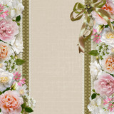 Border of flowers on vintage background with ribbon and brooch