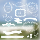 Blurred Vector Landscape Ribbons Laurels Set