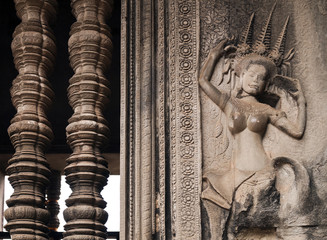 Decoration on the wall, Angor Wat, Cambodia