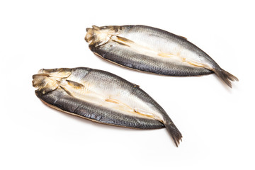 Kippers isolated on a white studio background.