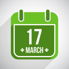 Saint Patrick's day flat calendar icon with long shadow. Vector