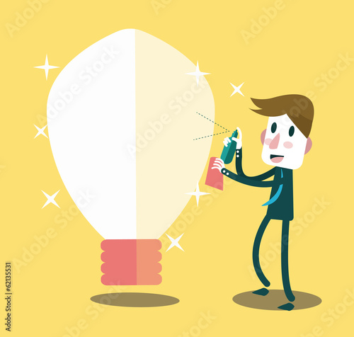 Businessman cleaning his ideas. Business and innovation concept