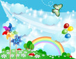 Spring background with pinwheels and butterfly