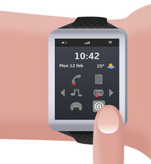 illustration of a doll with a smart watch