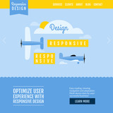 Modern flat vector website template with planes