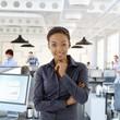 Happy black female office worker portrait