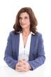 Senior Manger weiblich isoliert in Blau Weiß