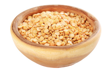 Dried yellow peas in bowl