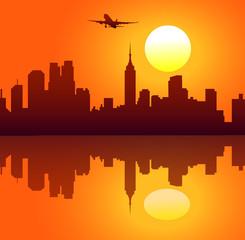 New York Skyline at Morning-Vector