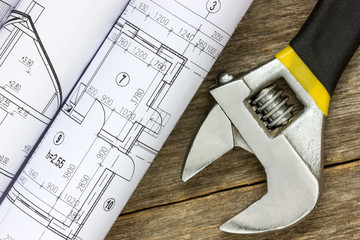Twisted technical drawing and adjustable wrench