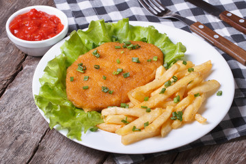 Schnitzel and fries with sauce and lettuce