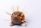 Hedgehog toothpick holder on white