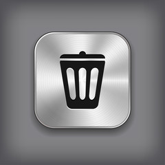 Trash can icon -  vector metal app button