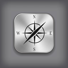 Compass icon - vector metal app button