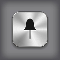Paper push pin icon - metal app button