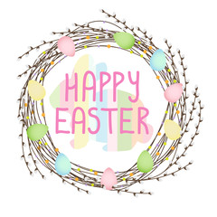 happy easter vector wreath