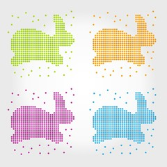 set of rabbits from circles. Label. Vector.