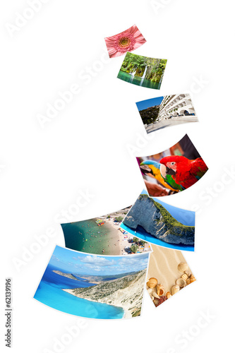 Photos of holiday on white background.