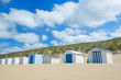 canvas print picture - Blue beach huts at Texel