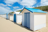 Blue beach huts at Texel