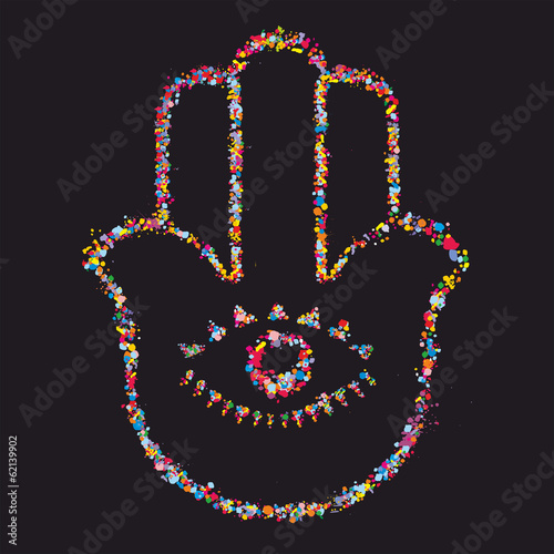 Grunge stylized colorful Hamsa on black background -  vector