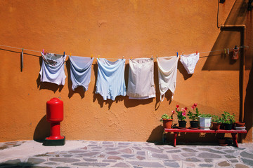 Street wash laundry hanging