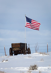 Pioneer Wagon and Flag
