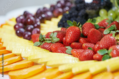 close-up fruit catering table set