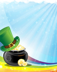 Leprechaun hat and pot with gold