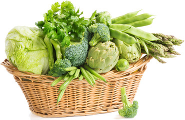 Basket with green vegetables